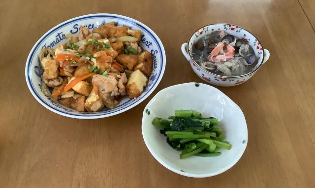 厚揚げと産直鶏肉の甘辛炒め