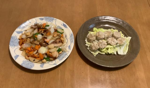 鶏肉とカシューナッツのかき油炒め+シュウマイ