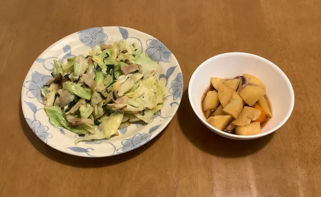 いかじゃが+ベーコンと野菜の黒こしょう炒め