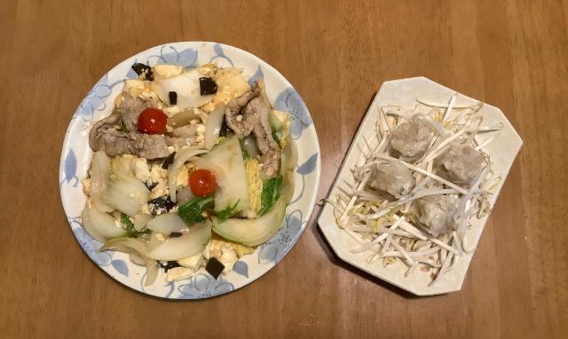 豚肉と豆腐のXO醤炒め+シウマイ