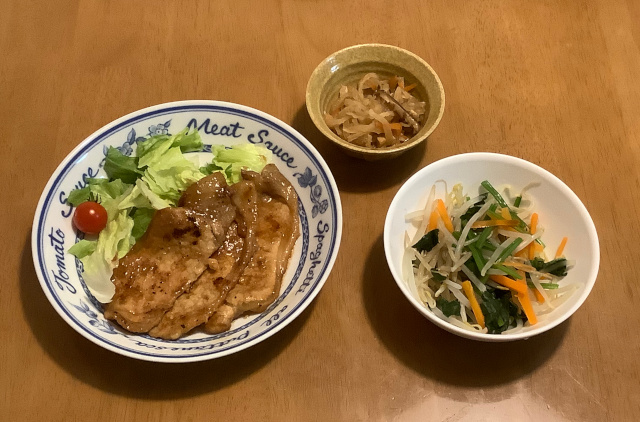 豚ロース肉の味噌漬焼+ほうれん草のおかかあえ+切り干し大根