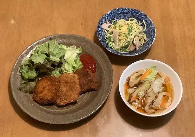 北海道産さんまのポテト焼き+ハムスパサラダ+レンジ煮浸し
