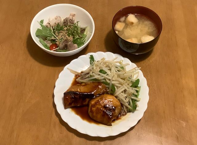めかじきハラモの和風ソテー+豚じゃぶと水菜のごま酢+えのきのみそ汁