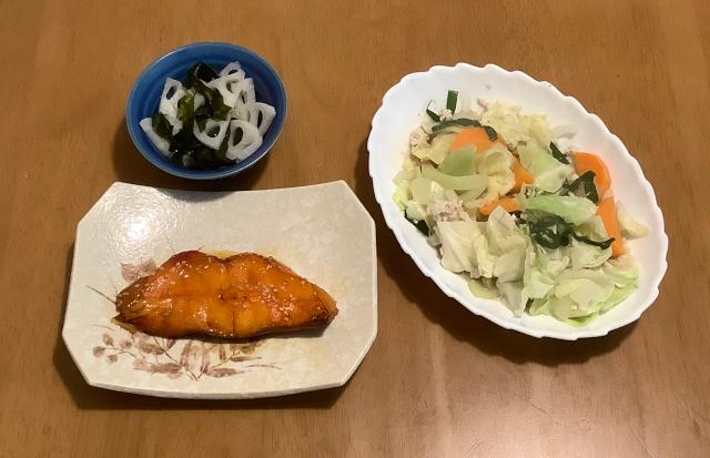 火曜日.からすがれいのみろん干し+野菜のそぼろ蒸し+れんこんの甘酢