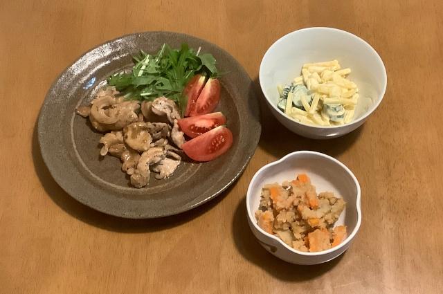 水曜日.バターじょうゆのポークソテー+簡単うの花+チーズマカロニサラダ