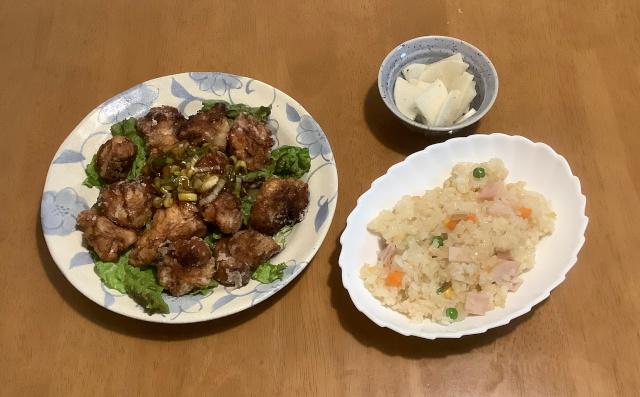 木曜日.油淋鶏+簡単レンジチャーハン+大根ナムル