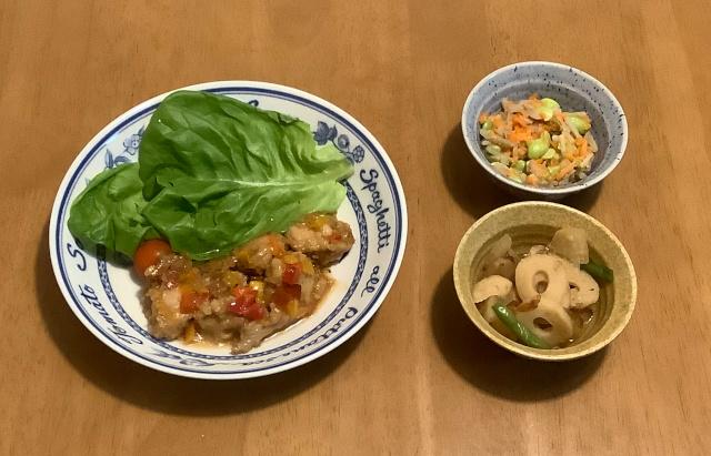 鶏のから揚げねぎソース+大根とちくわのおかか煮+ごぼうと枝豆のサラダ