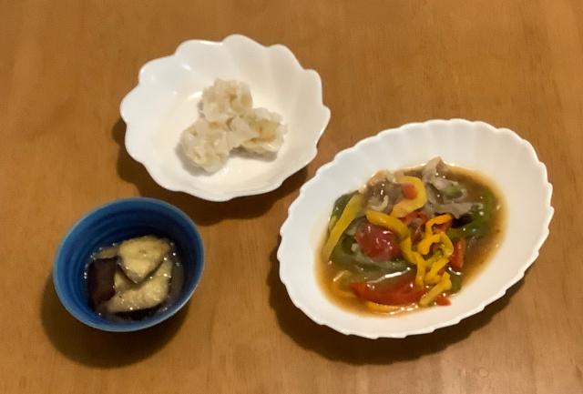 月曜日.牛肉のチンジャオ風+野菜焼売+なすのさっぱりおろし煮